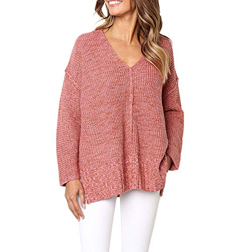 Shybuy Women's Fashion V-Neck Loose Fit Pullover Sweater Side Split Long Sleeve Tunic Top by Shybuy Women Top