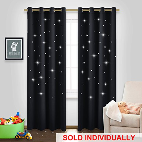 NICETOWN Black Stars Inspiration Curtain - Starry Night Sleep-Enhancing Cosmic Themed Twinkle Curtain for Boys Outer Space Room, Draft Blocking Drape (Single Panel, W52 x L84, Black)