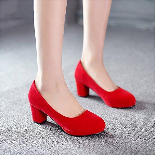 Single shoes - female Chaussures de mariage chaussures de mariée rouge à talons hauts (avec haute 6cm) (Couleur : C, taille : 37-Shoes long235mm) D