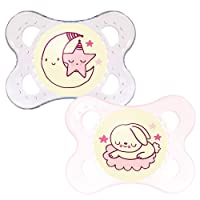 MAM Night Glow in The Dark SooTher Suitable 0 Months with Sterilisable Travel Case - Pack of 2, Pink/White