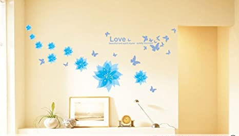 Buy Amaonm® Nursery Flowers Butterfly Wall Decals Quotes Wall ...
