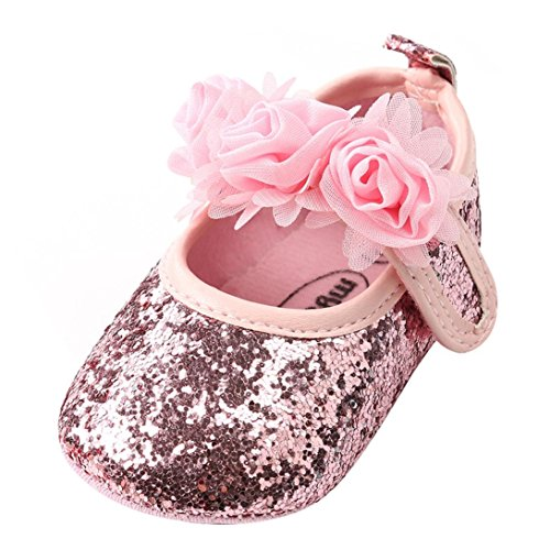 LNGRY Shoes,Toddler Kids Baby Girls Princess Fashion Chiffon Flower Sequins Bling Crib Flats Shoes (0-6 Months, Pink)
