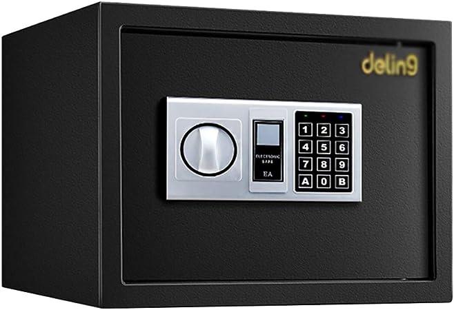 Caja fuerte YXX Cajas Fuertes electrónicas Digitales con Teclado y 2 Llaves de Emergencia - Pequeña Caja de Seguridad para el hogar, la Oficina, los Negocios o los Viajes (Color : Black):
