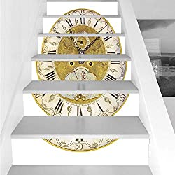 Stair Stickers Wall Stickers,6 PCS Self-Adhesive,Clock Decor,Vintage Theme A Seventeenth Century Ornamental Clock Face with Roman Numeral,Gold Black,Stair Riser Decal for Living Room, Hall, Kids Room