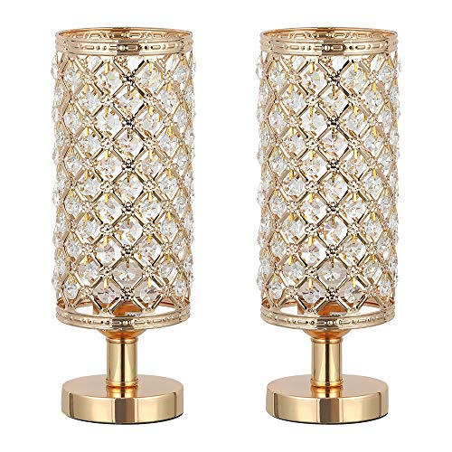 HAITRAL Crystal Table Lamp Set of 2 - Elegant Decorative Bedside Lamp Set with Clear Crystal Beads Lampshade, Gold Nightstand Lamps for Bedroom, Living Room, Girls Room, Guest Room (HT-TH132-16X2) (Gold Lamp Crystal)