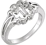 Cross Silhouette Signet Ring in Sterling Silver, Size 7