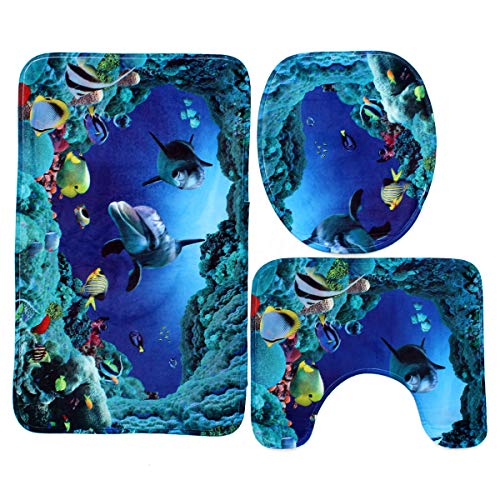 (FidgetGear 180x180cm Blue Ocean Dolphin Deep Sea Bathroom Shower Curtain Waterproof Set Toliet Rug Set)