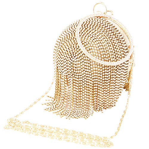 Womans Round Ball Clutch Handbag Dazzling Full Rhinestone Tassles Ring Handle Purse Evening Bag (C) by LONGBLE (Image #9)