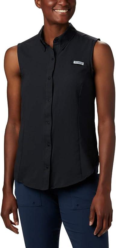 Sunset Red Columbia Womens PFG Tamiami Sleeveless Shirt Large