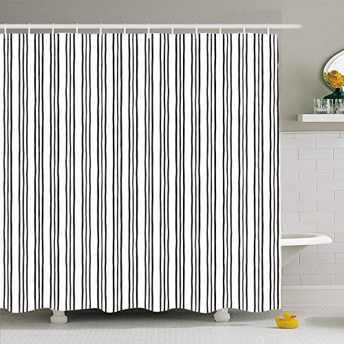 (Ahawoso Shower Curtain 72 x 78 Inches Pattern Triple Stripes Pinstripes Brush Uneven Black Drawn Hand Thin Waterproof Polyester Fabric Bathroom Set with Hooks)