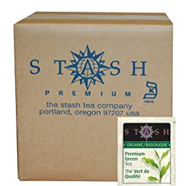Stash Tea, Organic Premium Green Tea, 100 Count Box of Tea Bags Individually Wrapped in Foil, Medium Caffiene Tea, Japanese Style Green Tea, Hot or Iced 9 ORGANIC JAPANESE STYLE GREEN TEA: Our tea leaves are steam processed in the traditional style to preserve the flavor, fragrance, & color of the fresh leaf, resulting in a sweet delicate green tea in every cup. Enjoy hot or iced, with honey or unsweetened. 100 COUNT BOX: Excellent for food service, gift packages or simple personal use. Individually packaged bags guarantee that every cup will taste as fresh as the day it was bagged, whether herbal, white, green, black, or oolong. Good tea in a stay-fresh bag. PREMIUM BAGGED TEA: All our teas, herbal, black, green, white, or oolong, are of the highest quality. For delicious flavor in every steep, our tea bags are packaged in stay-fresh foil wrappers to keep your tea fresh, from morning chai to bedtime chamomile.