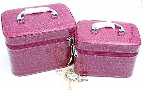 Price comparison product image HOYOFO 2-Piece Stone Texture Cosmetic Train Case Set Makeup Bags with Mirror, Purple