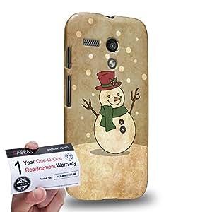 Case88 [Motorola Moto G (1st Gen)] 3D impresa Carcasa/Funda dura para & Tarjeta de garantía - Art Navidad Classics Vintage Navidad Snowman