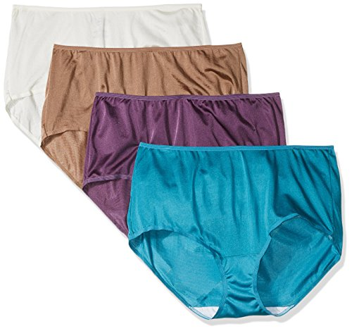 """Fruit of the Loom Women's Plus Size """"Fit For Me"""" 4 Pack Nylon Brief Panties, Assorted, 11"""
