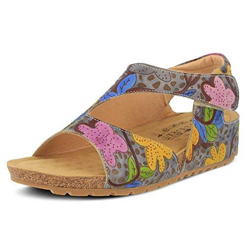Lartiste Di Spring Step Womens Pomi Flat Sandal Grey / Multi