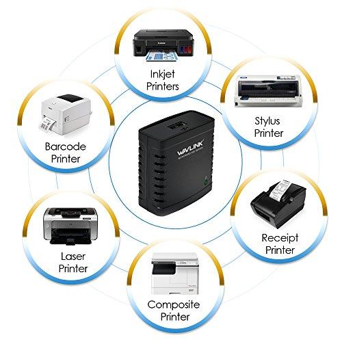 Wavlink Networking Print Server USB 2.0 Ethernet Print Server Adapter LPR 1-Port MFT Print With 10/100Mbps LAN Ethernet Port Share a Standard USB Printer with Multiple Users by WAVLINK (Image #4)