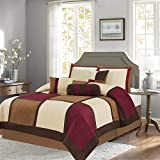 Super King Comforter Sets for Sale Empire Home Mikasa Collection Luxurious Micro Suede Soft Comforter Set - Limited-Time Sale!! (Burgundy Patchwork, California King)