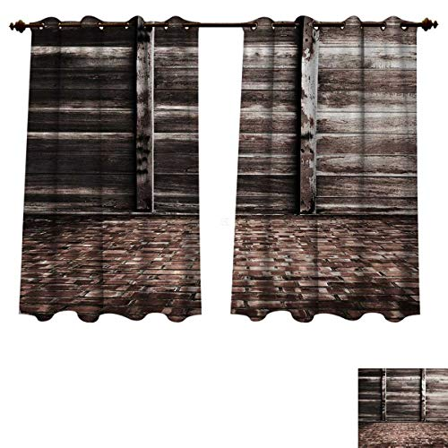 Anzhouqux Rustic Blackout Thermal Backed Curtains for Living Room Aged Cracked Striped Oak Boarded Plank Wall Background and Dated Brick Floor Picture Customized Curtains Brown W63 x L45 inch