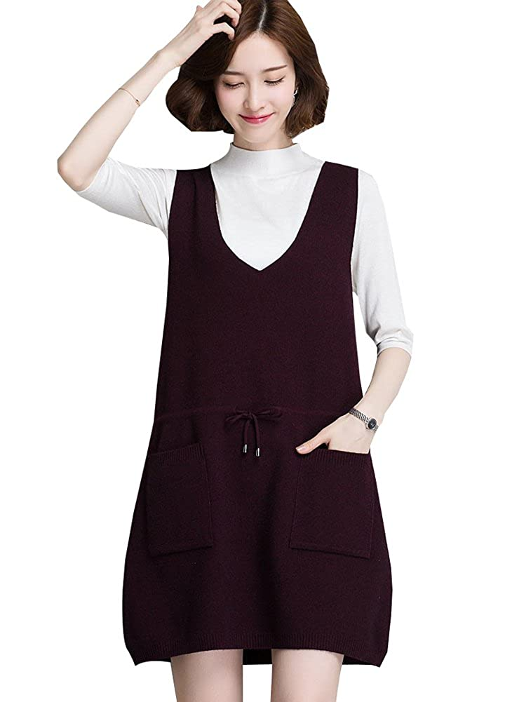 Wicky LS Women's Fitted Sleeveless knitted V-neck Sweater Vest