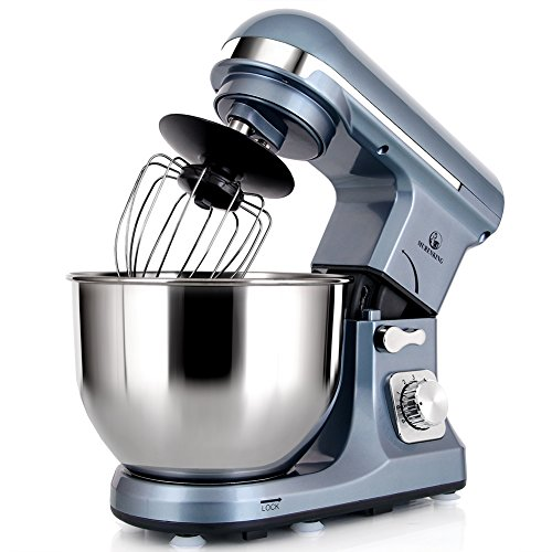MURENKING Professional Stand Mixer MK37 500W 5-Qt Bowl 6-Speed Tilt-Head Food Electric Mixer Kitchen Machine,Plastic (Silver Blue)