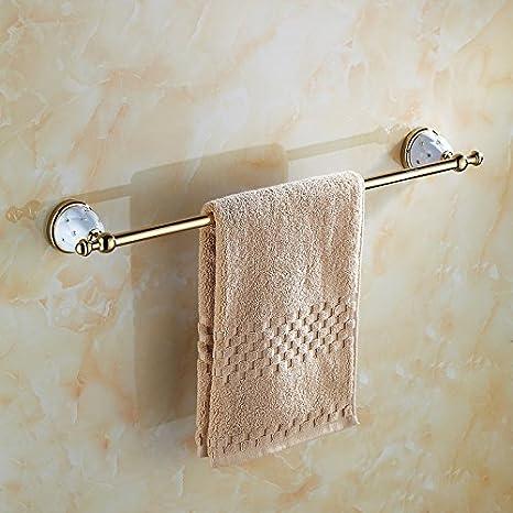 Hlluya Toallero El Golden toallero de Acero Inoxidable Insertar la Broca de cerámica de Toallas de baño WC Barra de cepillos baño toallero Establece, ...