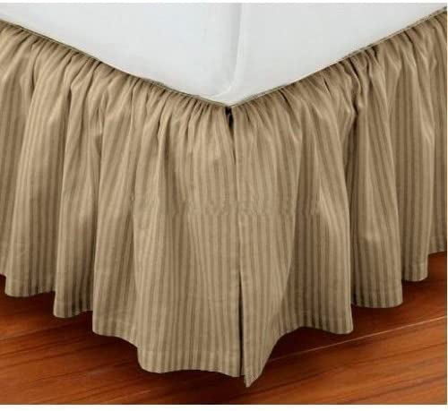 Vivacious Collection Hotel Quality 800TC Pure Cotton Dust Ruffle Bed Skirt 21 Drop Length 100/% Egyptian Cotton Taupe Queen Size