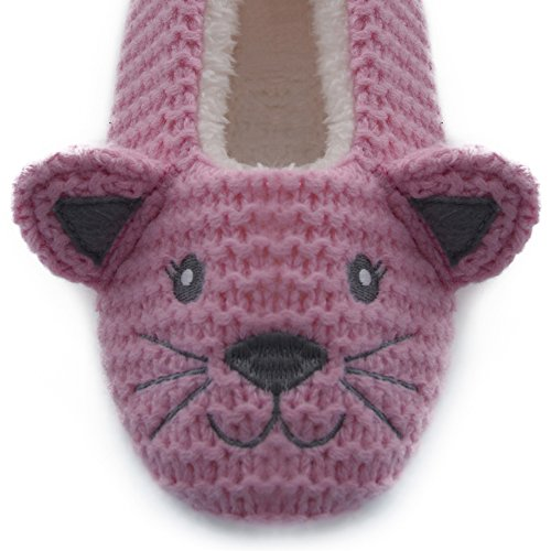 Damen Tier Mops flach niedriger Absatz ohne Bügel Ballett Pantoffeln FT1055 Pink
