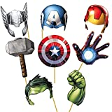PARTY PROPZ AVENGERS PHOTOBOOTH SET OF 8/ BOYS BIRTHDAY PHOTOBOOTH PARTY SUPPLIES/ BOYS BIRTHDAY PARTY DECORATION