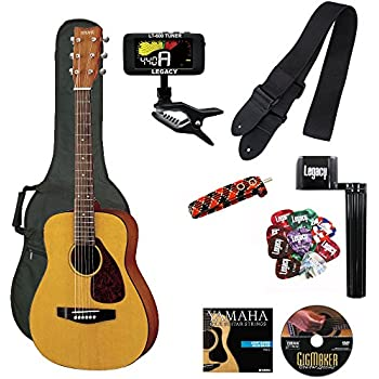 Yamaha JR1 3/4 Size Acoustic Guitar with Gig Bag and Legacy Accessory Bundle