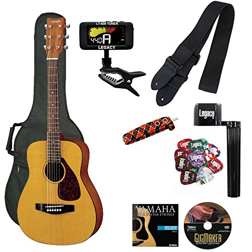 Yamaha JR1 FG Junior 3/4 Size Acoustic Guitar with Gig Bag and Legacy Accessory Bundle Child Student Steel String
