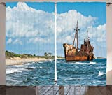 Ambesonne Ocean Decor Curtains, Rustic Big Retro Ship Hull on The Shore with Vivid Puffy Clouds Background Nature Scenery, Living Room Bedroom Window Drapes 2 Panel Set, 108W X 90L inches, Review