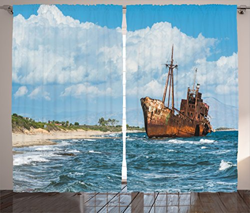 Ambesonne Ocean Decor Curtains, Rustic Big Retro Ship Hull on The Shore with Vivid Puffy Clouds Background Nature Scenery, Living Room Bedroom Window Drapes 2 Panel Set, 108W X 90L inches,