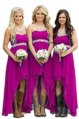 (Homdor Women Strapless High Low Bridesmaid Dresses Off The Shoulder Wedding Gown Fuchsia Size 16)