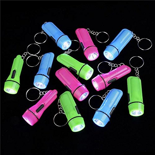 Mini Flashlight Keychain – Pack Of 12 Assorted Colors, Batteries Included - For Kids, Party Favor, Goody Bag Filler, Gift, Prize, Pocket Size - By Ecstatic Novelty
