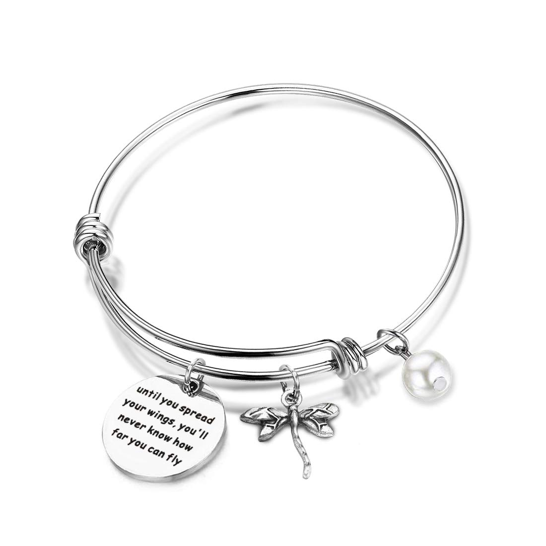 AKTAP Inspirational Jewelry Until You Spread Your Wings You'll Never Know How Far You Can Fly Dragonfly Charm Bracelet Encouragement Gifts for Her (Spread Your Wings Bracelet)