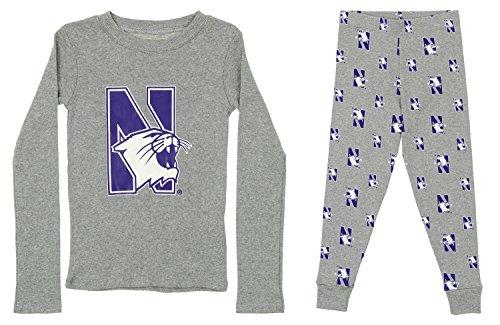 Outerstuff NCAA Little and Big Boy's Long Sleeve Tee and Pant Sleep Set, Northwestern Wildcats Large (7)