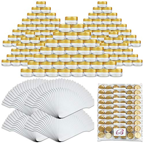 Beauticom 144 Pieces of GOLD Clear Plastic Empty Jar 10ml 10g Refillable Cosmetic Cream Eye Shadow Nails Powder Gems Cosmetic Samples Jars Also Includes 72 Pieces Spatulas