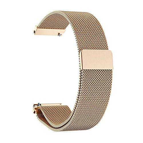 Folsom Quick Release Watch Strap Milanese Magnetic Stainless Steel Watch Band 20mm 22mm 24mm (Rose Gold, 22)