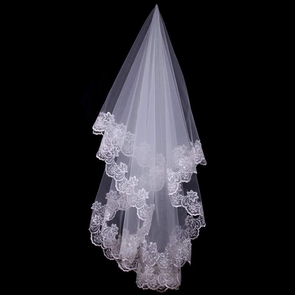 Mikiya 150cm Femmes Voile De Mariage Court Voile Blanc Une Couche Dentelle Bordure De Fleur Appliques