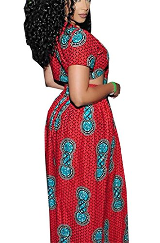 Red Set Dashiki Outfit Print 2 Dress Domple Split Sexy Women's African Pieces Party 7ZqnPfTwpx