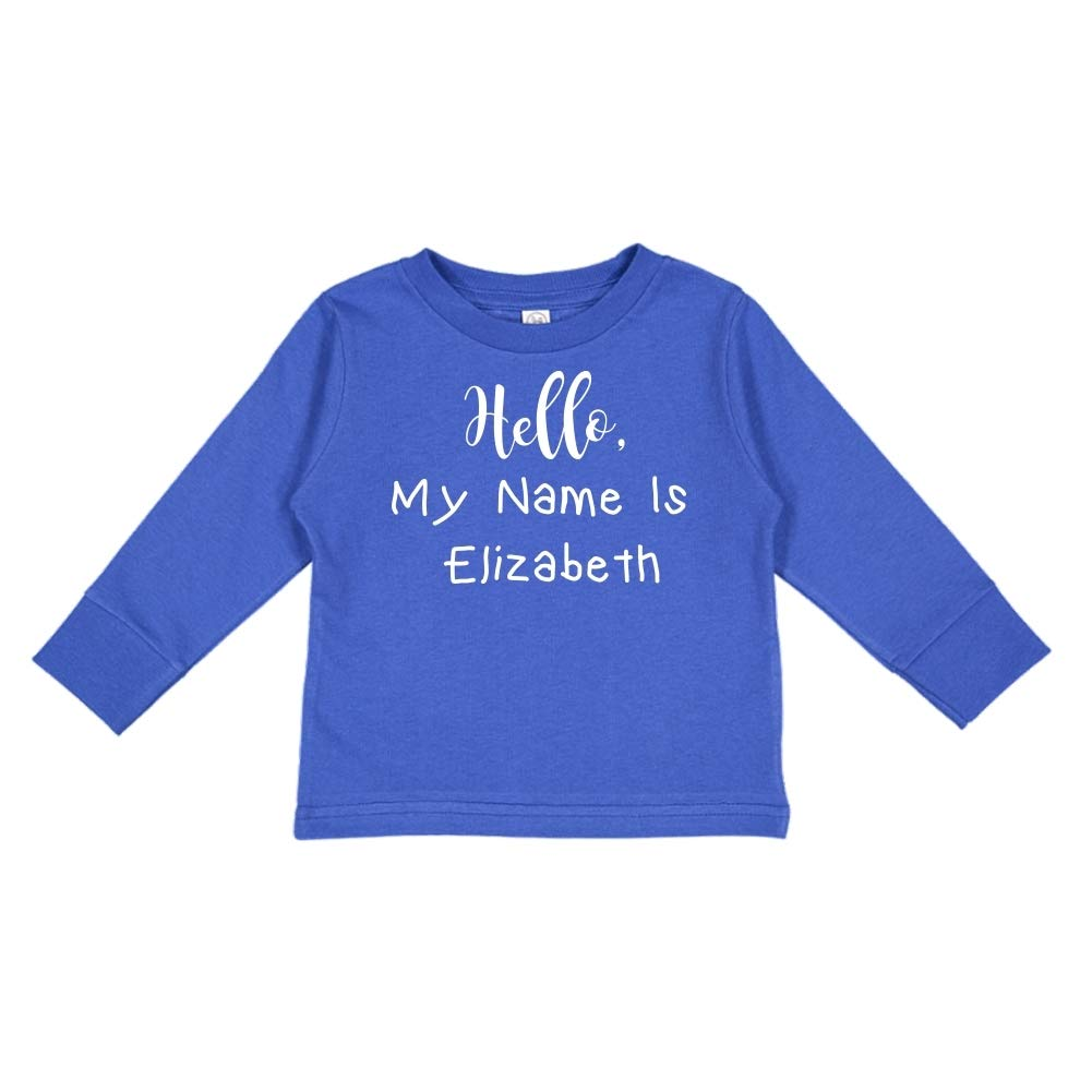 Personalized Name Toddler//Kids Long Sleeve T-Shirt My Name is Elizabeth Hello