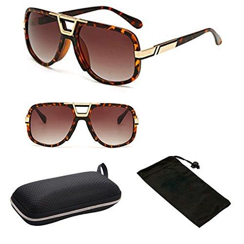 (#P9762MT Tort) Exclusive Pimp Metal Gold Frame Oversized Men Women Unisex Sunglasses + Complete Accessories