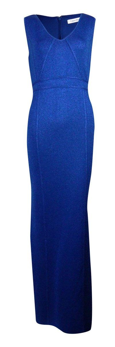 Calvin Klein New Atlantis Metallic Sleeveless Sweater Slit Gown M $279 DBFL