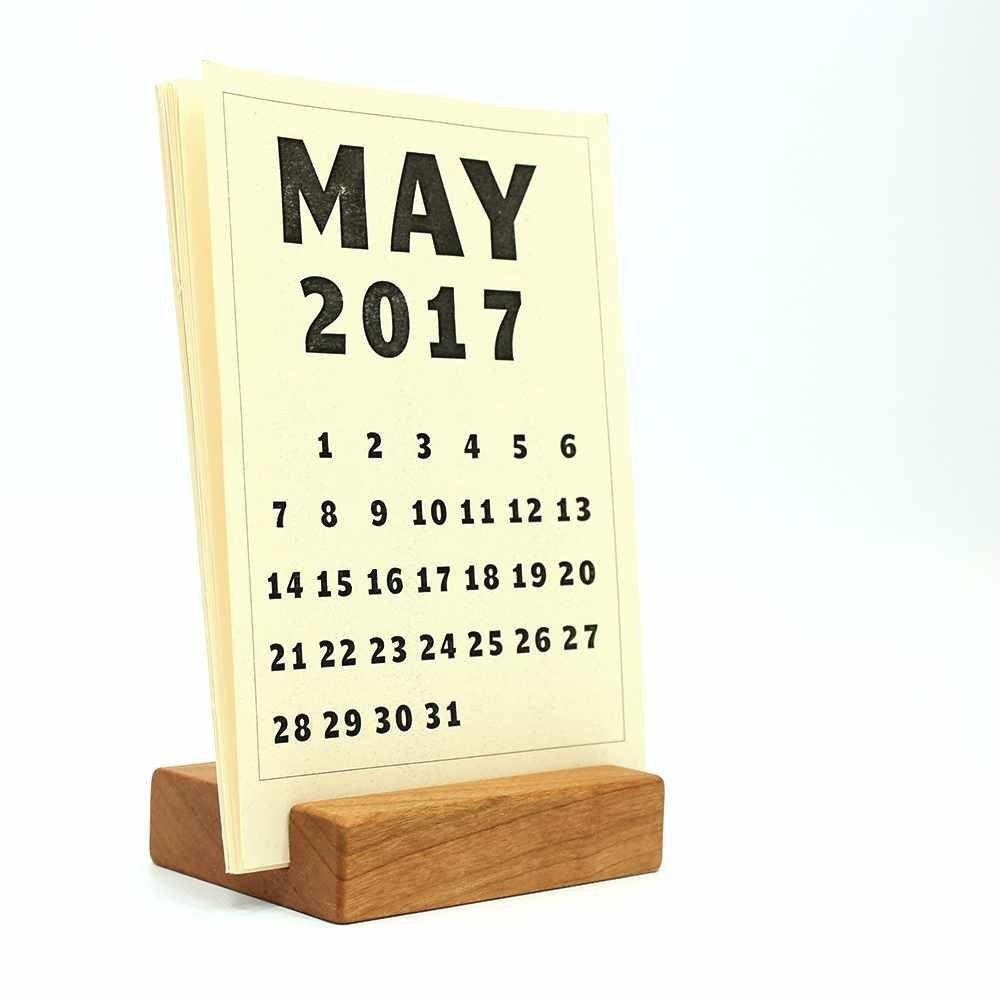 Wood Block Desk Calendar Stand