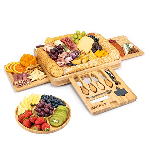 SMIRLY Cheese Board and Knife Set: 16 x 13 x 2 Inch Wood Charcuterie Platter for Wine, Cheese, Meat