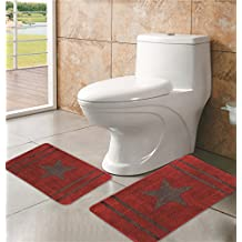 Cowboy/ Cowgirl Star Western Design Two Pieces Bath Mat Rug Beige , Chocolate or Burgundy (Burgundy)