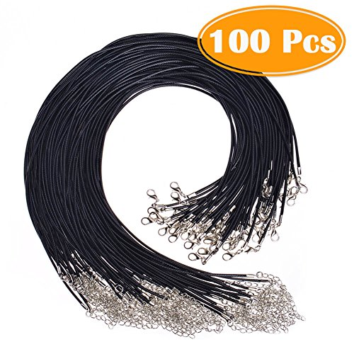 "Paxcoo 100PCS 2.0mm Black Waxed Necklace Cord Bulk with Clasp for Jewelry Making (18"") by PAXCOO"