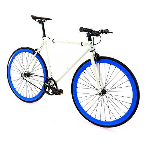 Golden Cycles Single Speed Fixed Gear Bike with Front & Rear Brakes (Royal, 55)