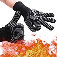 ABDQPC BBQ Gloves Grill Gloves Oven Gloves,932°F Extreme Heat Resistant Kitchen BBQ Gloves Oven Mitts with Fingers for Cooking Grilling Baking