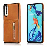Yobby Case for Huawei P30,Slim Fit Retro Premium PU Leather Back Wallet Case with Zipper and Card Holder,Shockproof Bumper Protective Cover for Huawei P30-Light Brown
